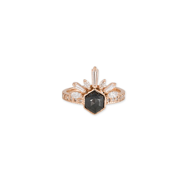 HEXAGON BLACK RAW DIAMOND BAGUETTE MARQUISE DIAMOND LASH RING