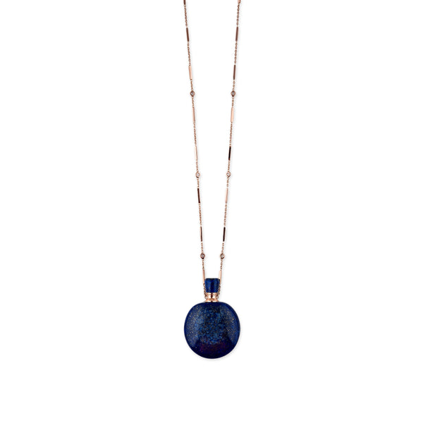 LAPIS LARGE ROUND POTION BOTTLE BAR CHAIN NECKLACE