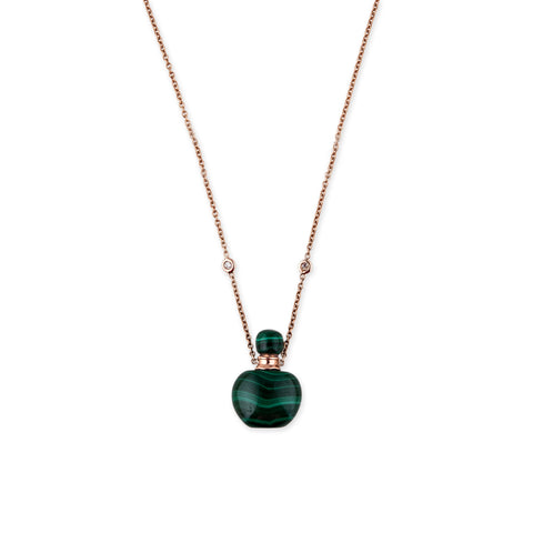 SMALL ROUND MALACHITE POTION BOTTLE NECKLACE