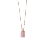 ROSE QUARTZ MEDIUM RECTANGLE POTION BOTTLE NECKLACE