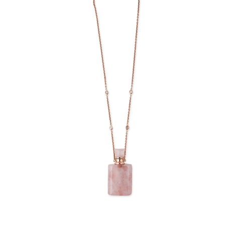 ROSE QUARTZ RECTANGLE POTION BOTTLE NECKLACE