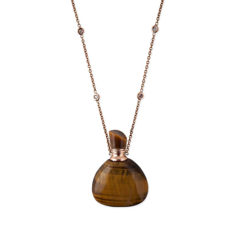TIGERS EYE TRIANGLE POTION BOTTLE NECKLACE