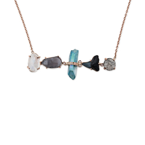 MOONSTONE, LABRADORITE, AQUA AURA, SHARK TOOTH AND TOURMILATED QUARTZ NECKLACE