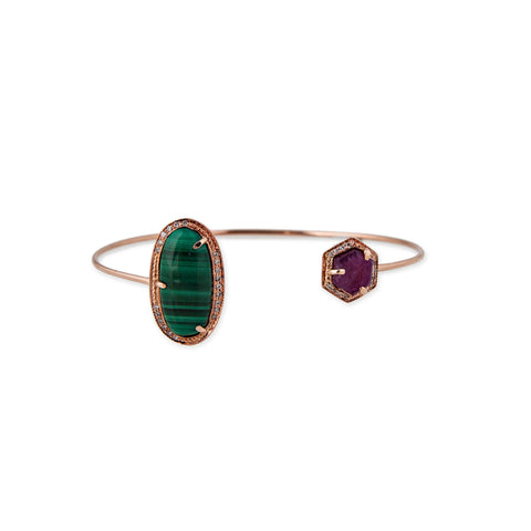 MALACHITE AND RUBY HEXAGON CUFF