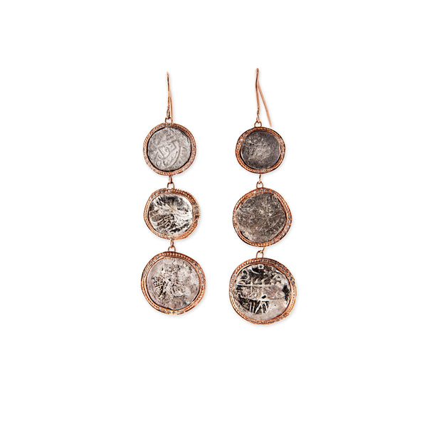 3 ANTIQUE COIN DROP EARRINGS
