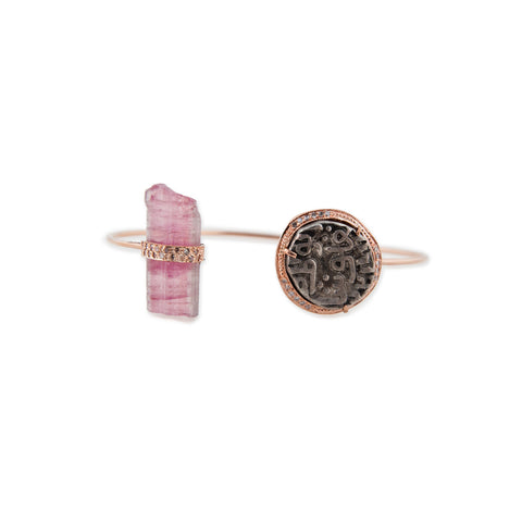 ANTIQUE COIN + WATERMELON TOURMALINE CRYSTAL CUFF