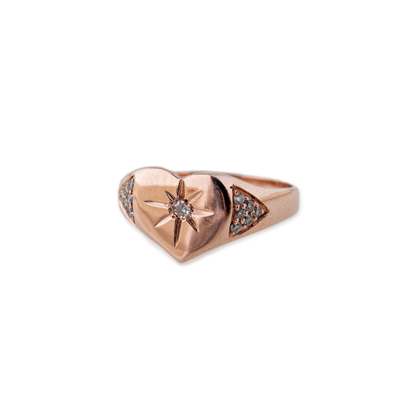 HEART BURST SIGNET RING