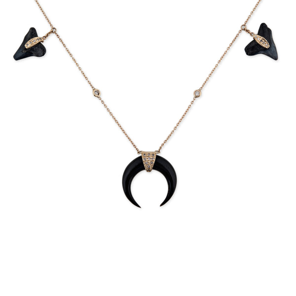 BLACK SHARK TOOTH + DOUBLE HORN NECKLACE