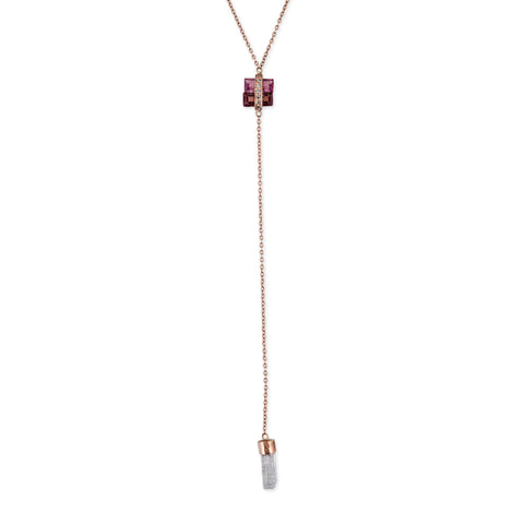 DOUBLE PINK TOURMALINE AQUAMARINE CRYSTAL Y NECKLACE