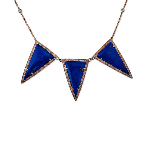 TRIPLE LAPIS TRIANGLE NECKLACE