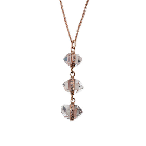 TRIPLE QUARTZ HERKIMER NECKLACE