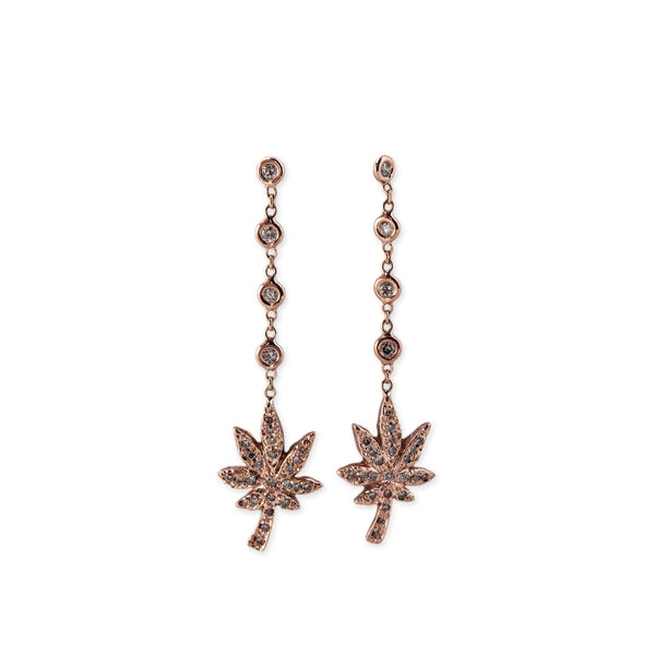 4 DIAMOND PAVE SWEET LEAF DROP EARRINGS