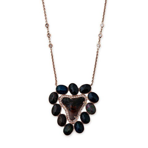PAVE BLACK OPAL SHARK TOOTH MUFASA NECKLACE