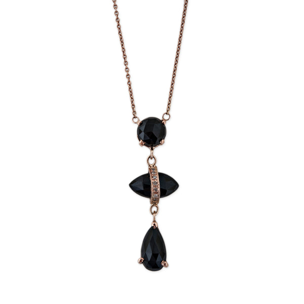 TRIPLE ONYX DROP NECKLACE