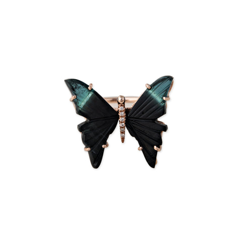 MEDIUM BLACK TOURMALINE BUTTERFLY RING