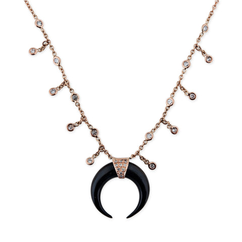MINI BLACK DOUBLE HORN SHAKER NECKLACE