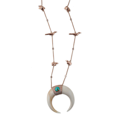 TURQUOISE DOUBLE BONE HORN ANIMAL FETISH NECKLACE