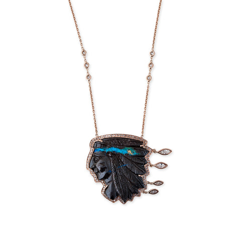 4 DIAMOND MARQUISE BOULDER CHIEF NECKLACE