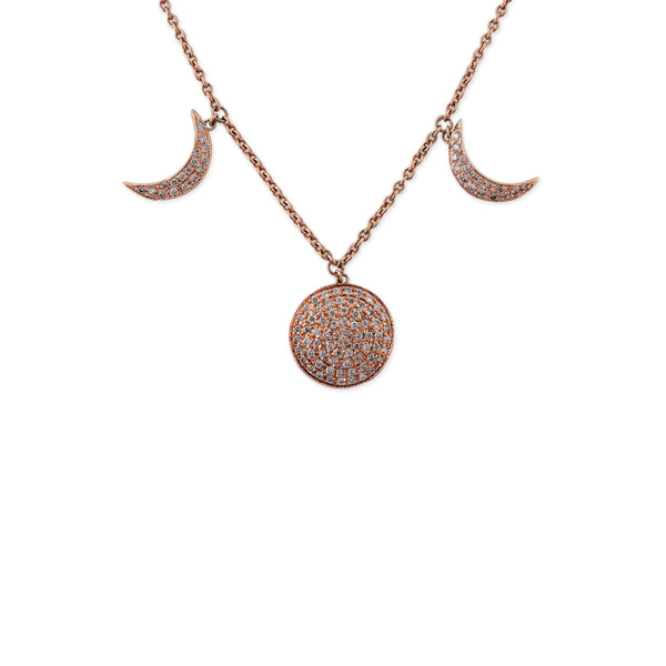 PAVE MOON + CRESCENT NECKLACE