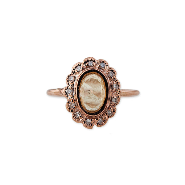VINTAGE PAVE OVAL CITRINE RING