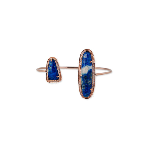 DOUBLE FREEFORM LAPIS CUFF