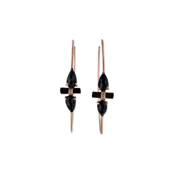 BLACK QUARTZ TEARDROP BAR HOOPS