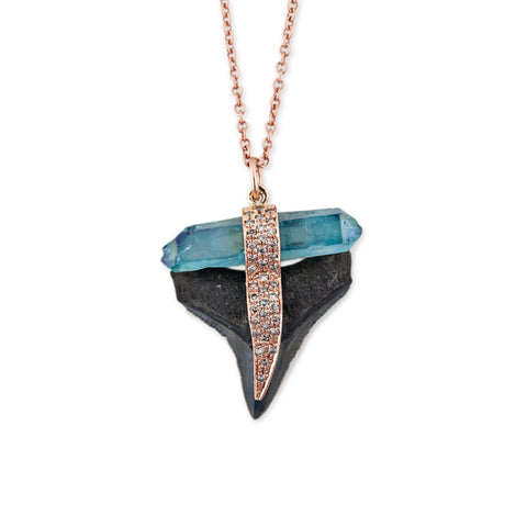 BLACK SHARK TOOTH & AQUA AURA NECKLACE