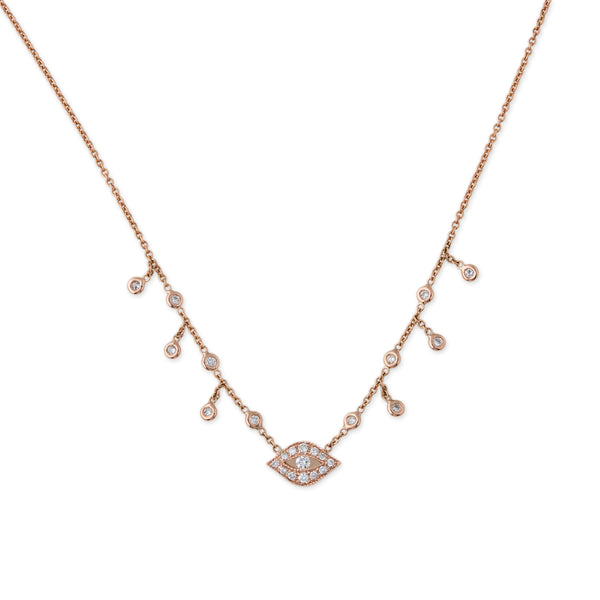 DIAMOND CENTER EYE SHAKER NECKLACE