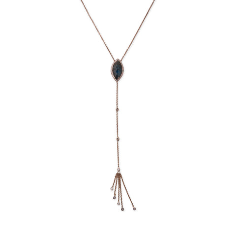 LABRADORITE MARQUISE DIAMOND TASSEL Y NECKLACE
