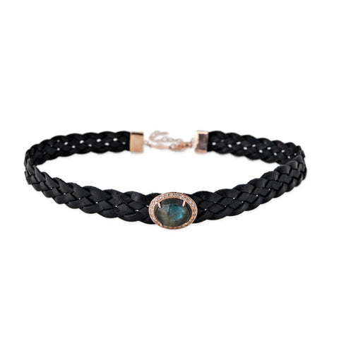 LABRADORITE BEZEL LEATHER CHOKER