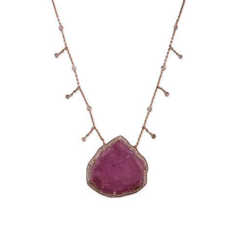 LARGE PINK TOURMALINE DIAMOND SHAKER NECKLACE