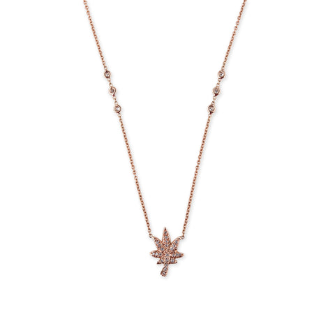 PAVE LARGE SWEET LEAF NECKLACE