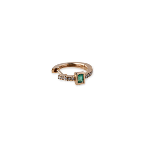 Emerald Baguette Mini Hoops