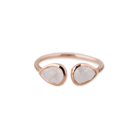 DOUBLE MOONSTONE TEARDROP OPEN RING