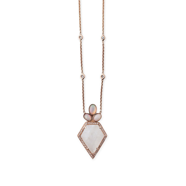MOONSTONE PENTAGON OPAL CROWN NECKLACE