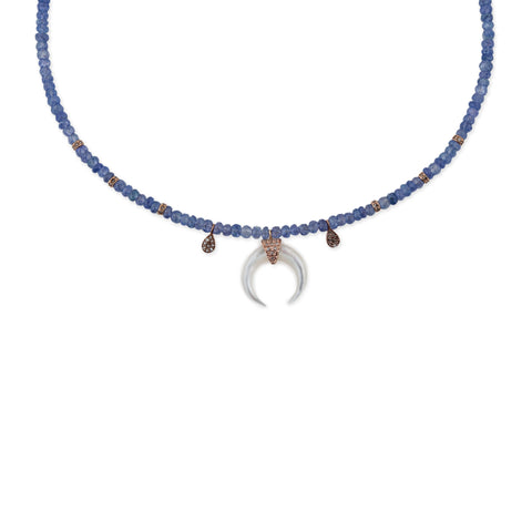 TEARDROP MOTHER OF PEARL HORN TANZANITE NECKLACE