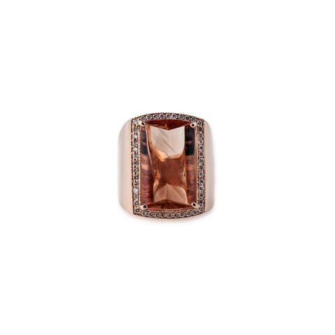 PEACH MORGANITE COCKTAIL RING