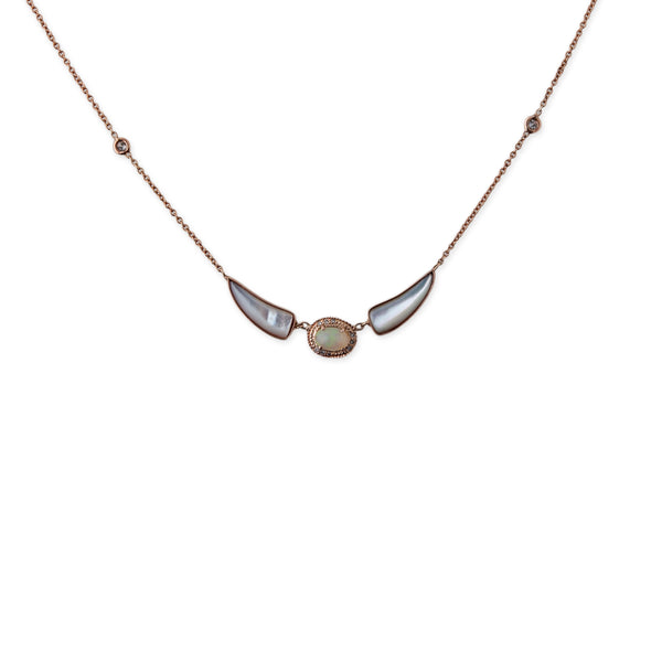 DOUBLE PEARL TUSK  OPAL NECKLACE
