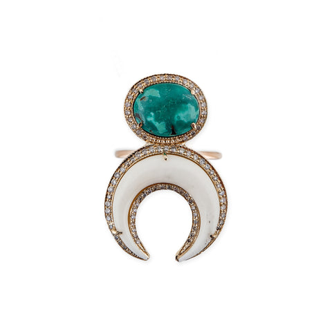 TURQUOISE + DOUBLE BONE HORN RING