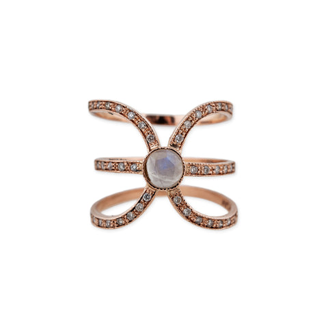 MOONSTONE CENTER X RING