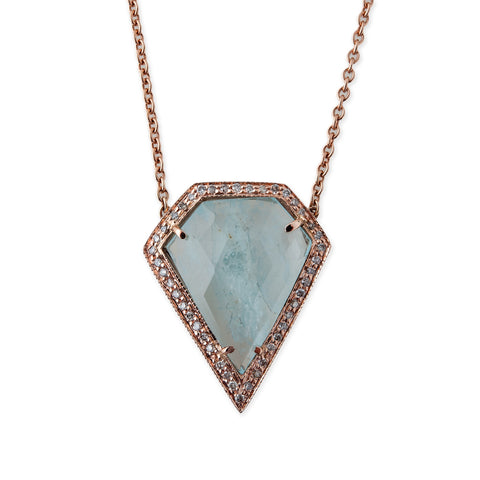 AQUAMARINE PENTAGON NECKLACE