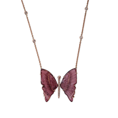 PINK TOURMALINE BUTTERFLY NECKLACE