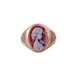 CARVED AGATE RED BROOKE CAMEO RING
