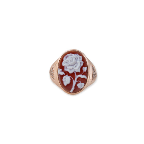 LARGE CARVED RED ROSE CAMEO RING