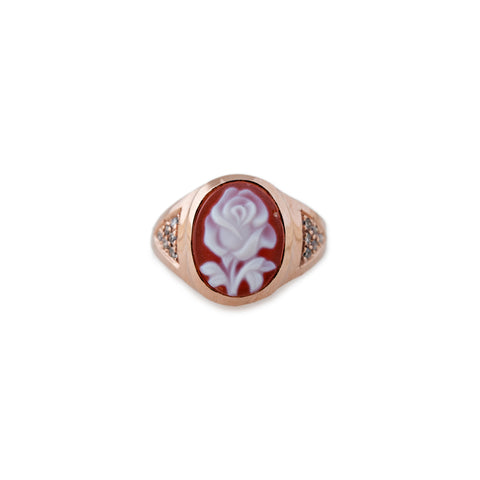CARVED AGATE RED ROSE CAMEO RING