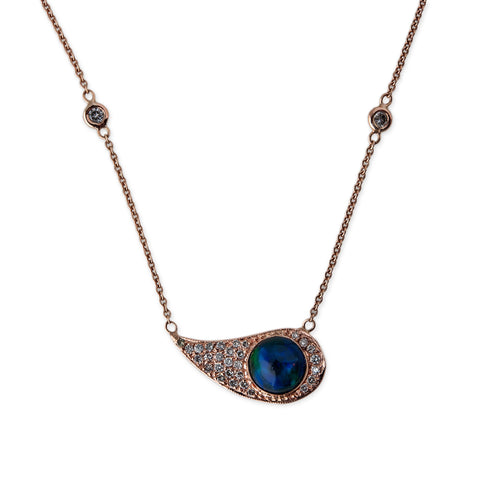 BLUE OPAL PAISLEY NECKLACE
