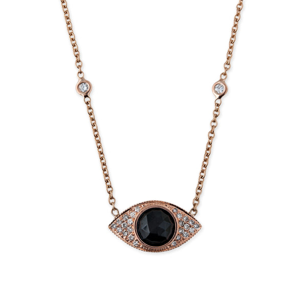 GEMSTONE PAVE DIAMOND EYE NECKLACE
