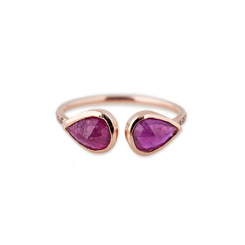 DOUBLE RUBY TEARDROP OPEN RING