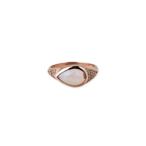OPAL TEARDROP SIGNET RING