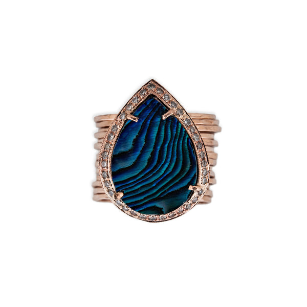 ABALONE TEARDROP MULTIWAIF RING